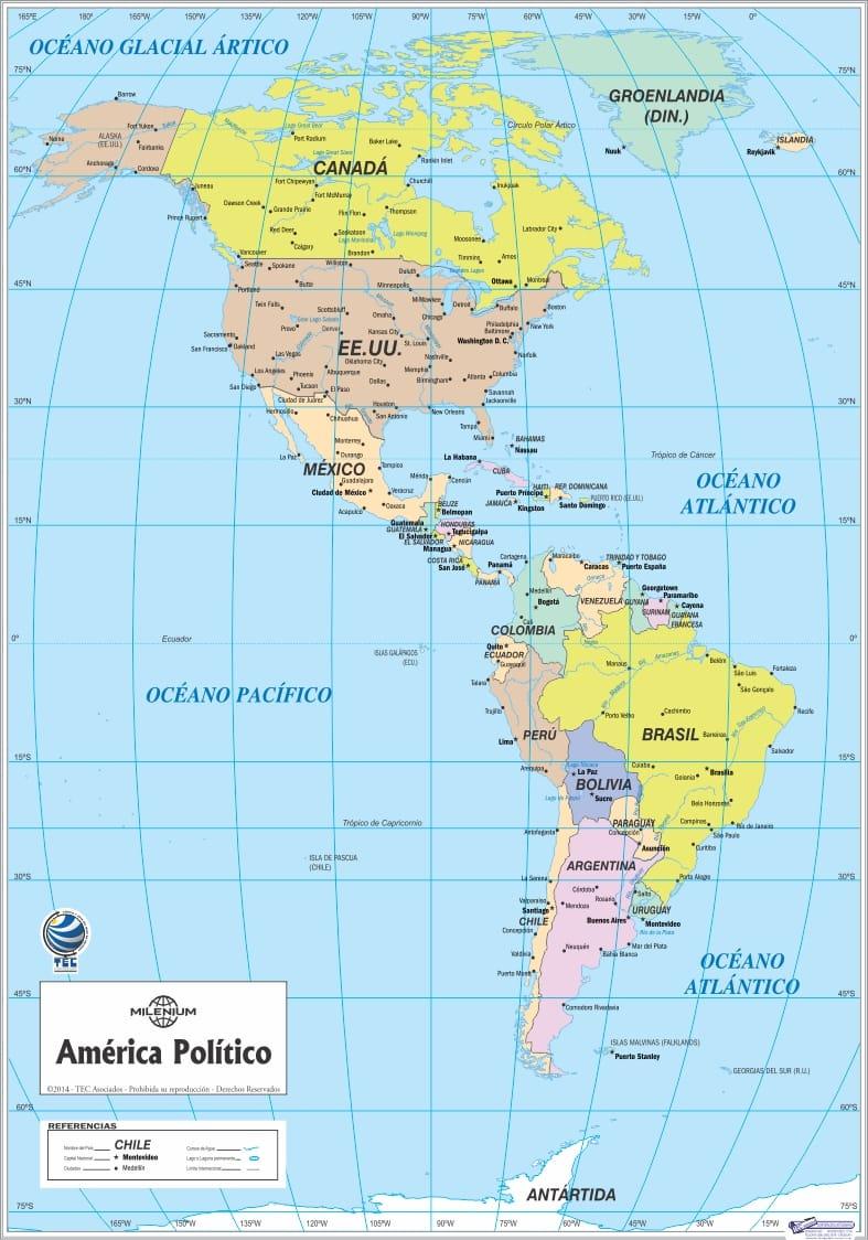 Mapa de las Tres Américas Político