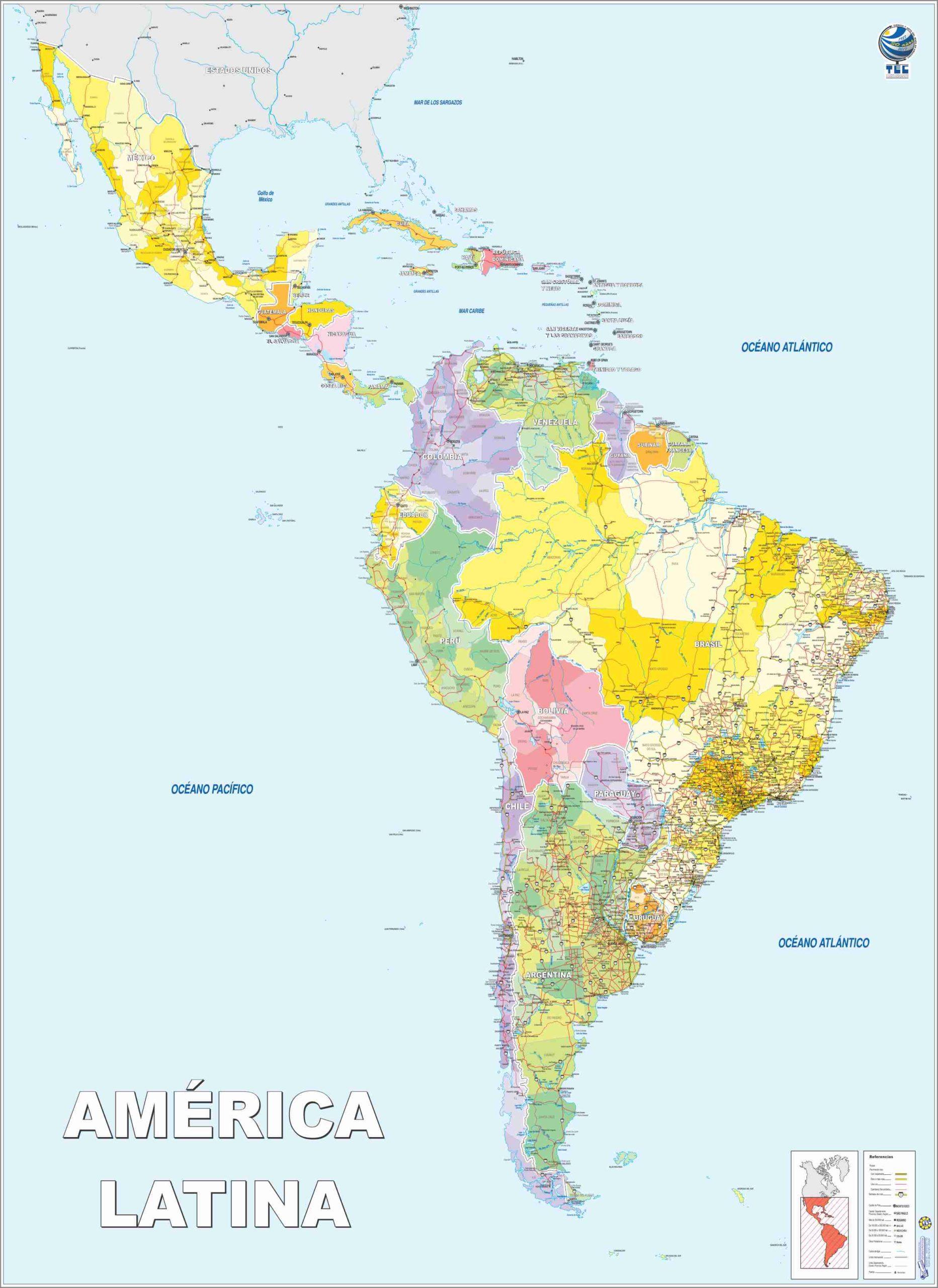 Mapa de América Latina Político
