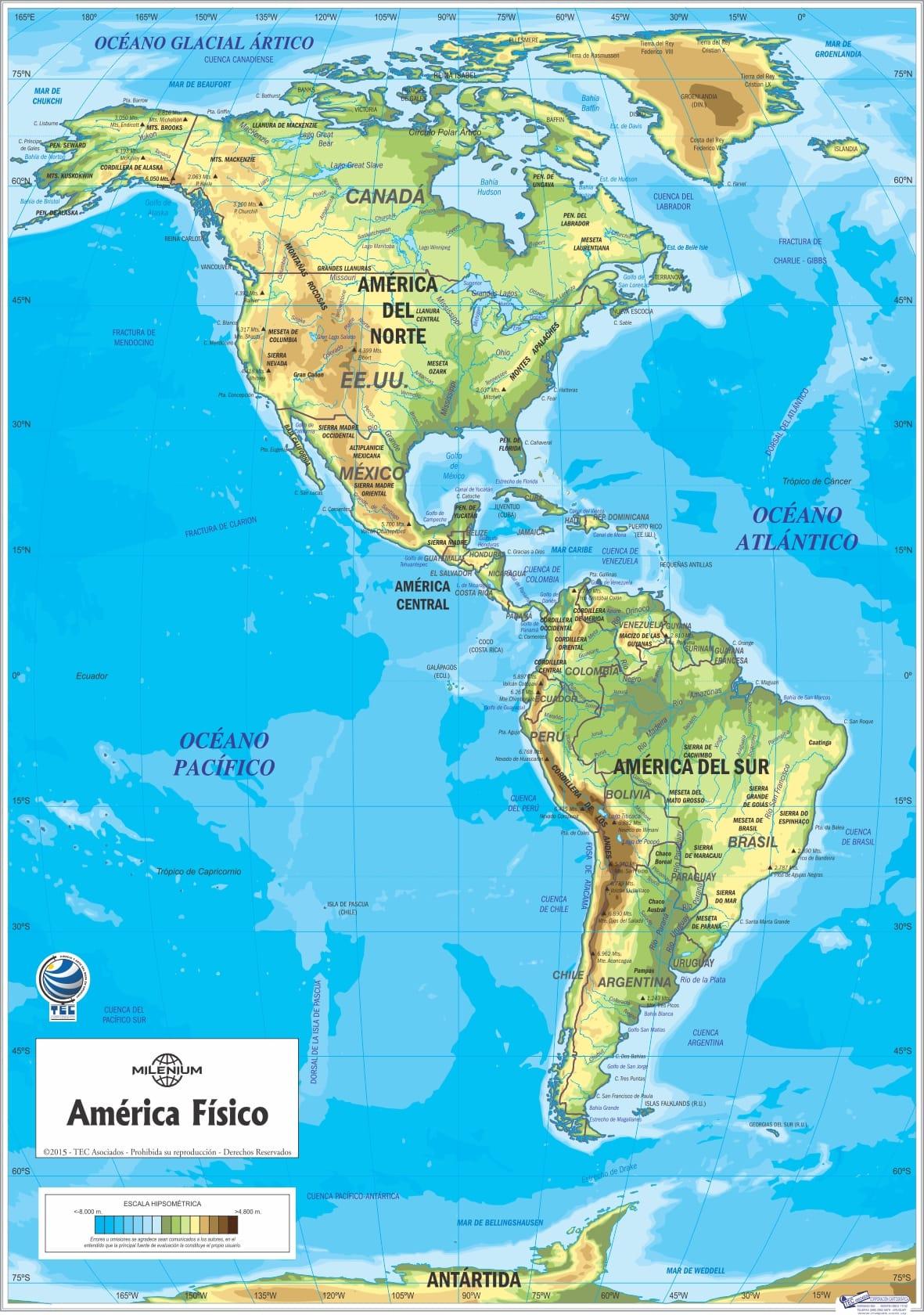 Mapa Tres Américas Físico