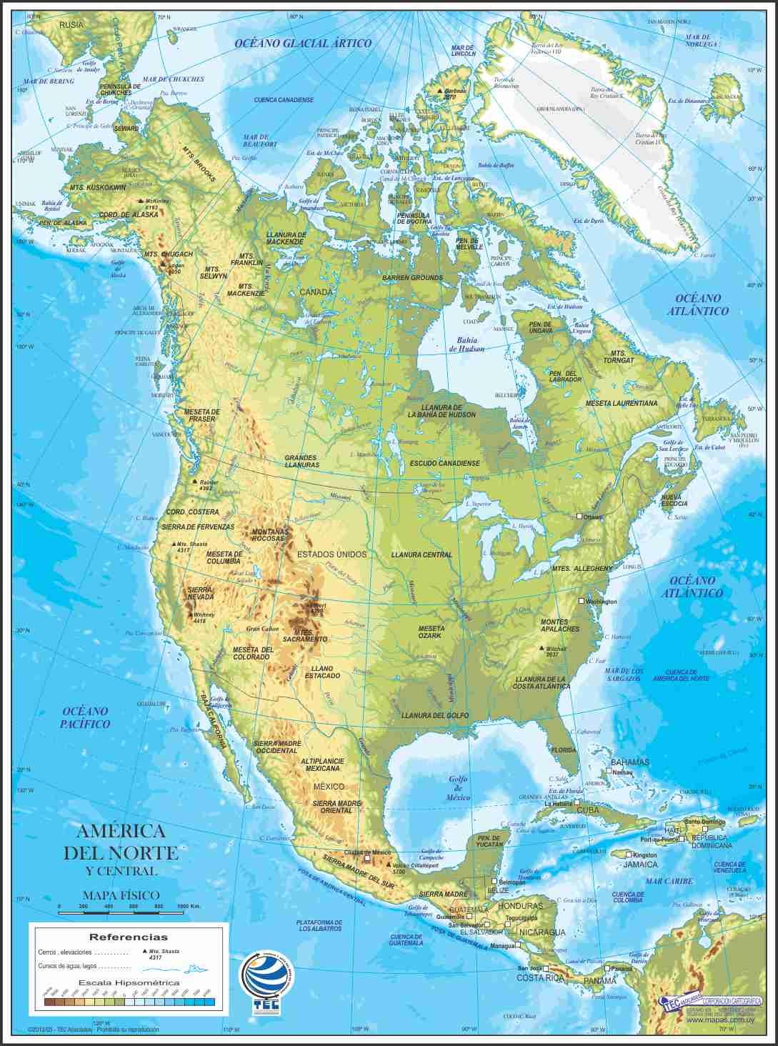 Mapa de América del Norte y Central Físico