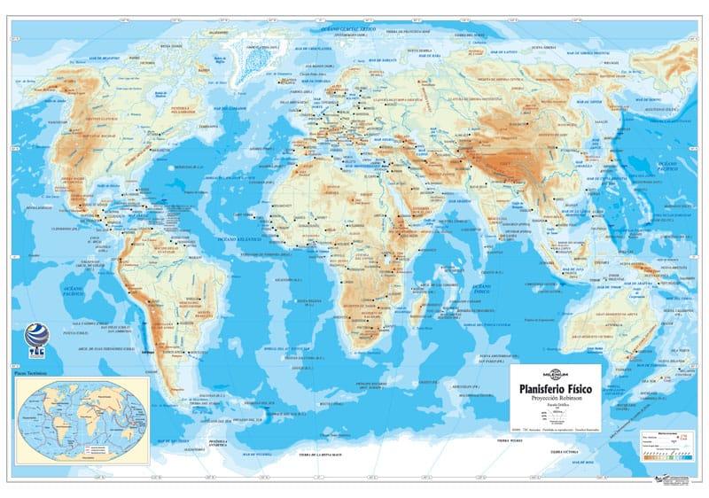 Planisferio Robinson Físico