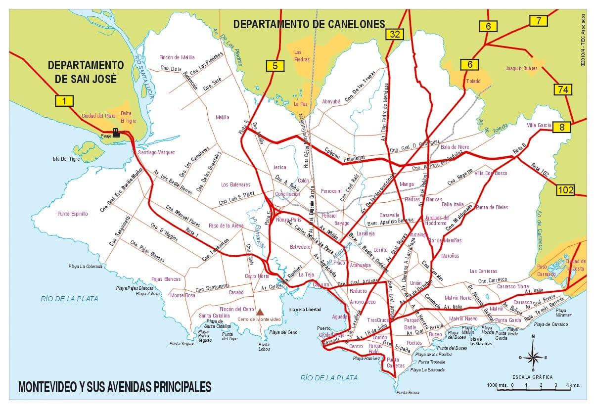 Mapa de Montevideo con Avenidas Principales
