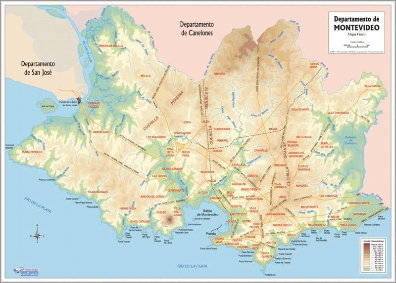 Mapa de Montevideo Físico