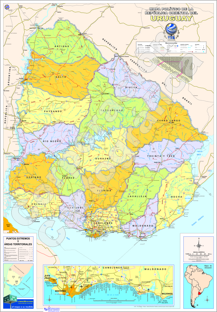 Mapa de Uruguay Político